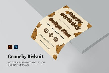 Crunchy Biskuit Birthday Invitation