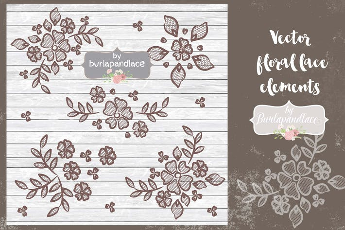 Thumbnail for Vector  floral lace elements