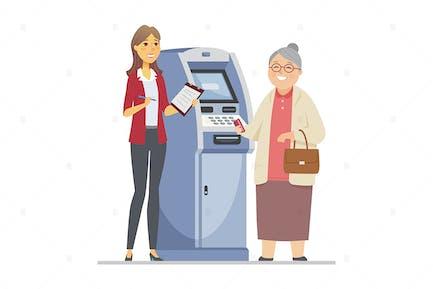 Consultora ayudando a la mujer mayor - ilustración