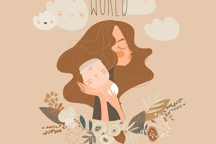 Thumbnail for Nette Mutter umarmt ihr Baby. Glückliche Mütter Tag.