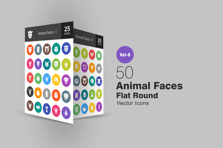 Thumbnail for 50 Animal Faces Flat Round Icons