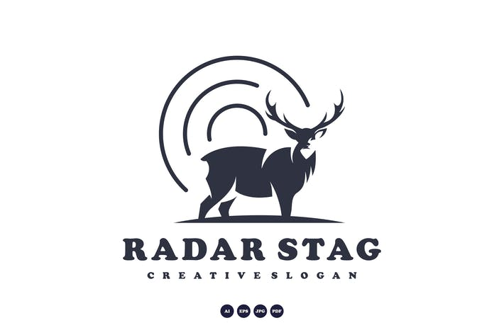 Thumbnail for radar stag, deer logo template