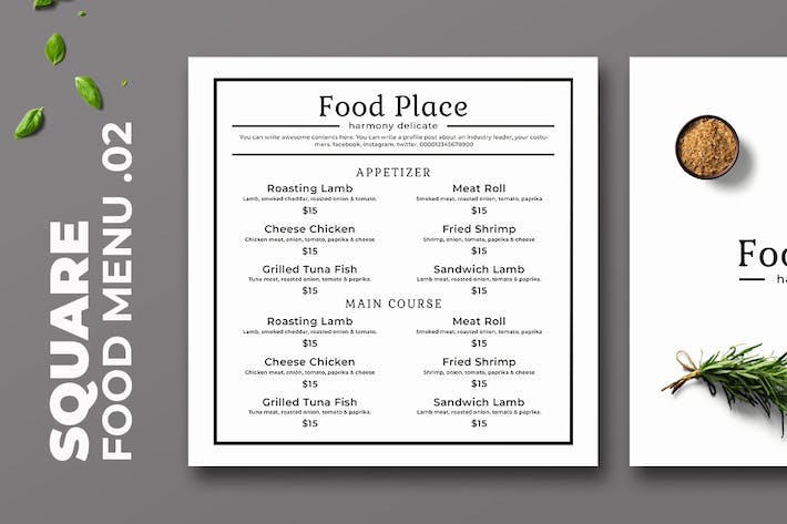 Thumbnail for Square Food Menu. 02