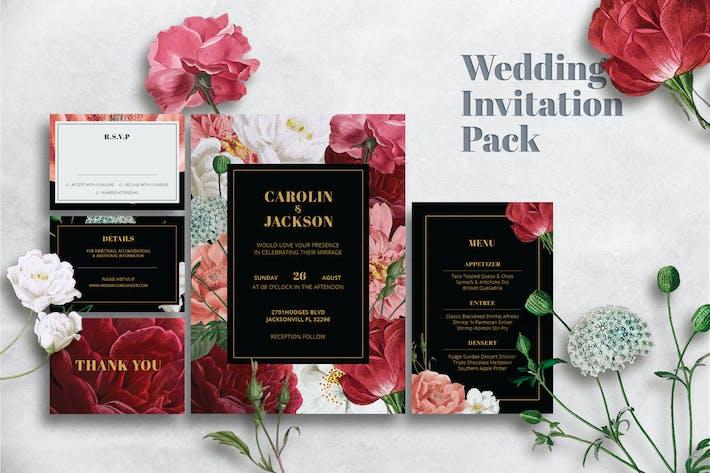 Thumbnail for Red Rose Wedding Invitation Set