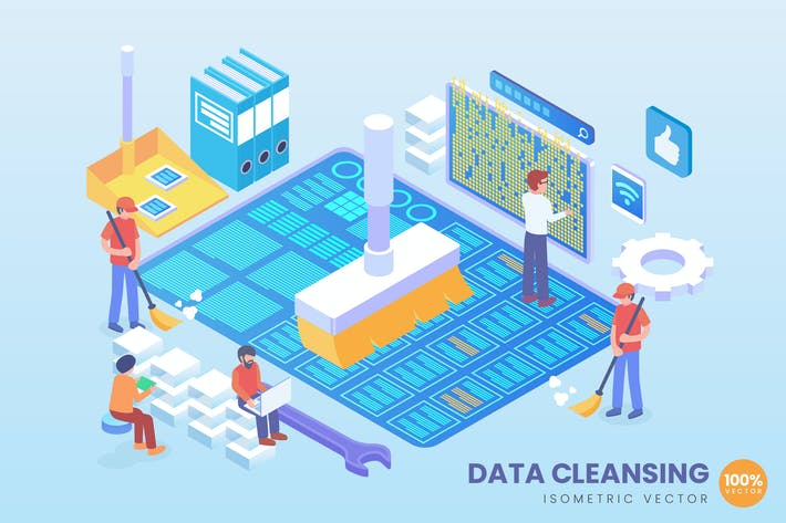 Thumbnail for Isometric Data Cleansing Vector Concept