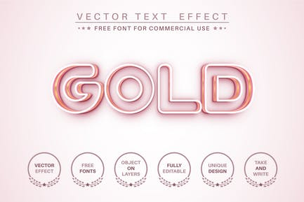 Gold stroke - editable text effect, font style