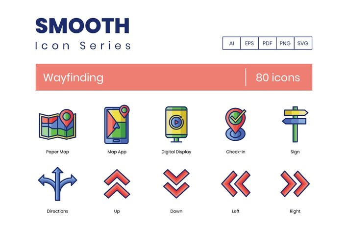 Thumbnail for 80 Wayfinding Icons - Smooth Series