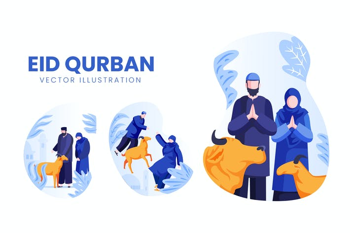 Thumbnail for Eid Qurban Celebration Vector Character Set