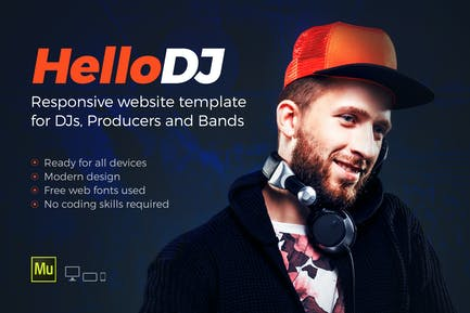HelloDJ - One Page Site Template for DJ & Producer