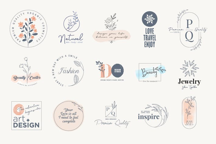 Thumbnail for Set of elegant labels and badges for beauty