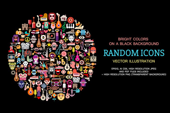 Cover Image For Random Icons round shape artwork