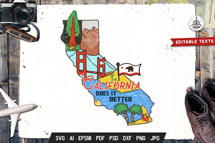 Thumbnail for California State Badge / Vintage US T-Shirt Print