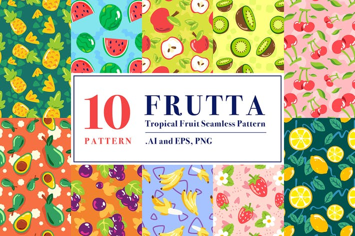 Thumbnail for FRUTTA - Tropical Fruit Seamless Pattern