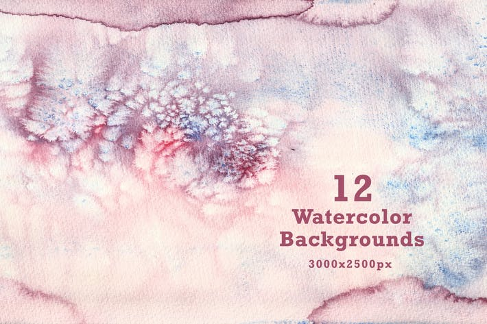 Thumbnail for Set of 12 Watercolor Backgrounds