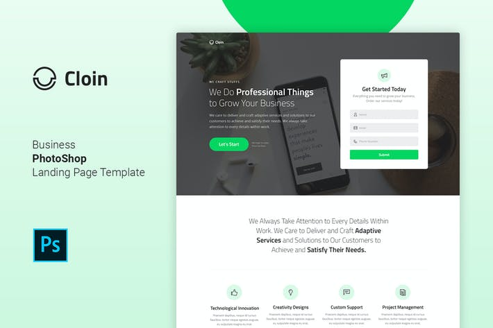 Cloin - Business PSD Landing Page Template