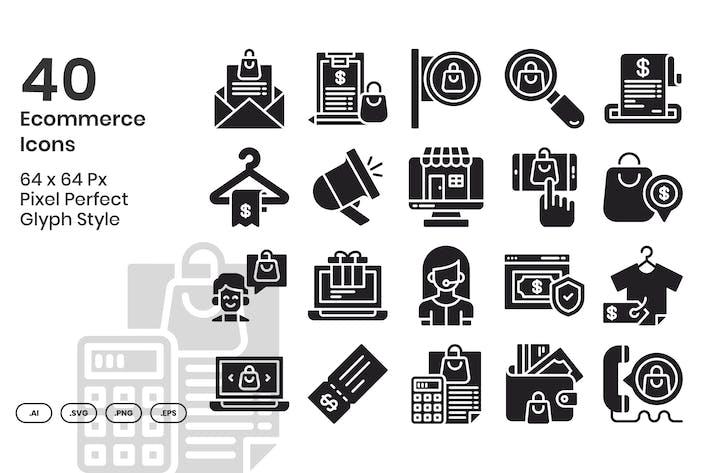 Lot de 40 Icones e-commerce - Glyphe