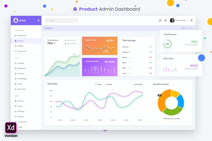 Thumbnail for Product Admin Dashboard UI Kit (XD)