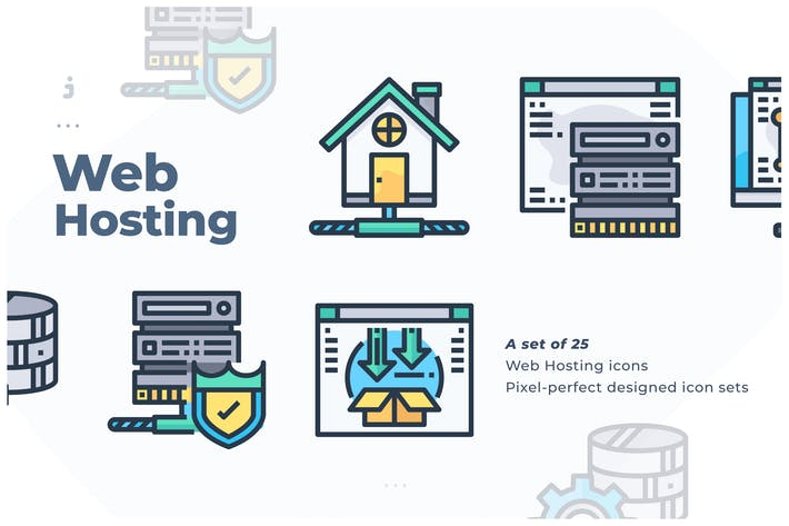 Thumbnail for 25 Web Hosting Icon set