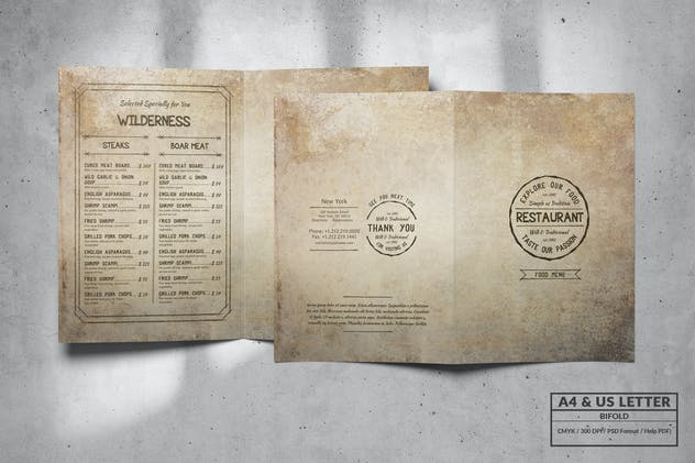 Vintage Bifold Food Menu Design A4 & US Letter