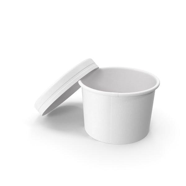 Белая бумага Еда Кубок с вентилируемой крышкой одноразовые мороженое ведро 8 унций 200 мл Mockup Open