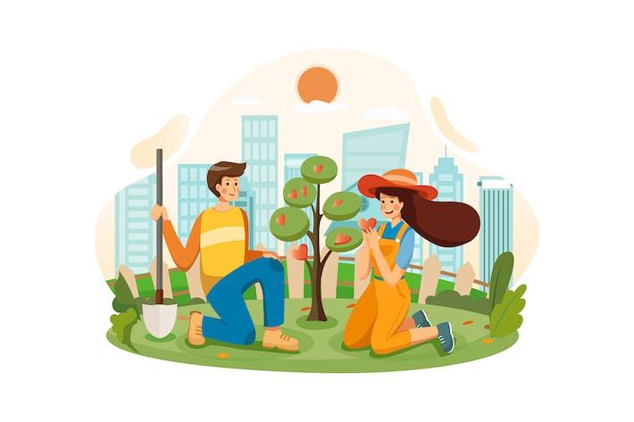 Thumbnail for Ein Paar wächst zusammen den Baum der Liebe