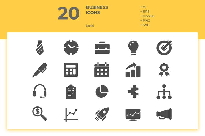 Thumbnail for 20 Business Icons Vol. 1 (Solid)