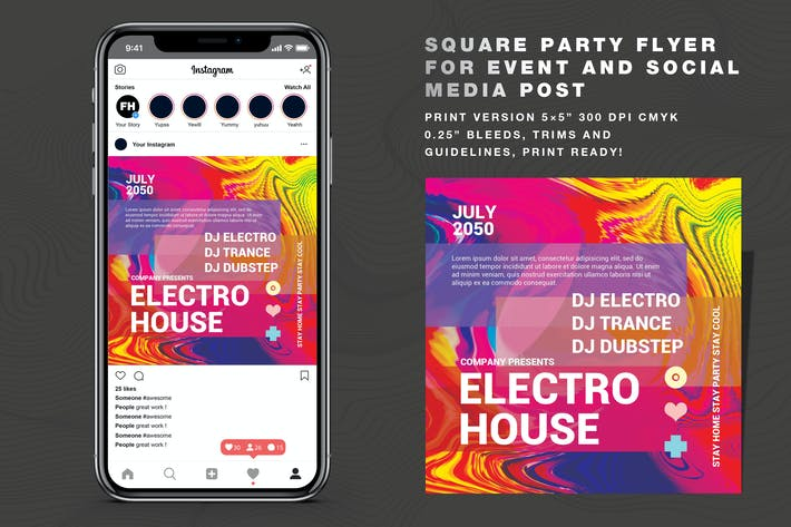 Thumbnail for Abstract Party Vol 02 Flyer And Social Media Post