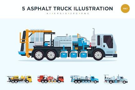 5 Asphalt Truck Vektor Illustration Set 1
