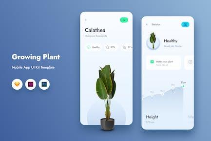 Growing Plant Mobile App UI Kit Template