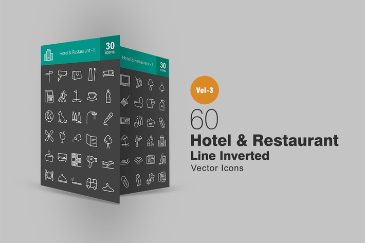 Thumbnail for 60 Hotel & Restaurant Line Inverted Icons