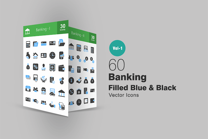 Thumbnail for 60 Banking Blue & Black Icons