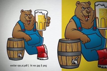 dibujos animados de oso pardo que ofrece oso