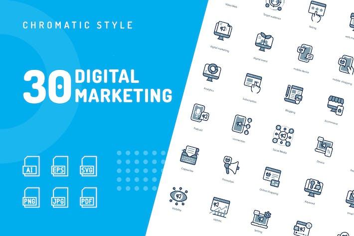 Thumbnail for Digital Marketing Chromatic Icons