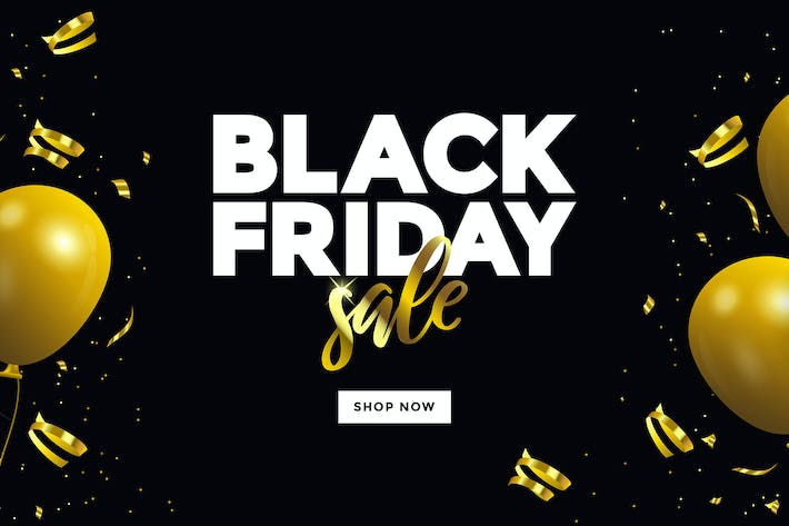 Thumbnail for Black Friday sale banner with glossy Balloons