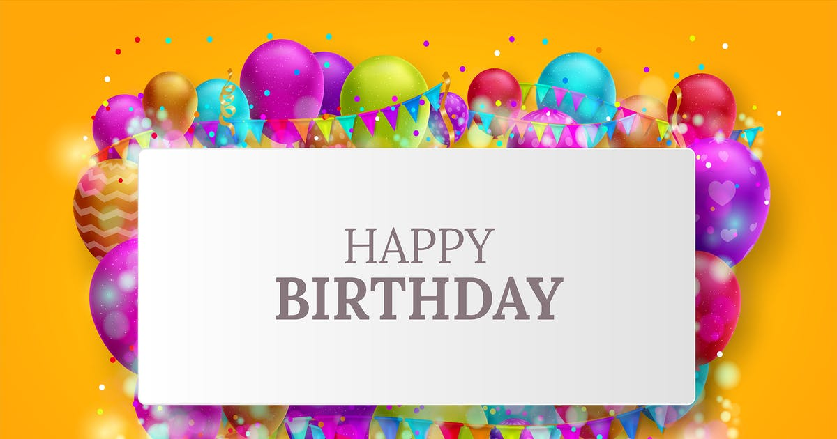 Download Birthday card with colorful balloons and confetti by illustratype