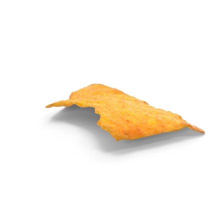 Chip de queso tortilla mordido
