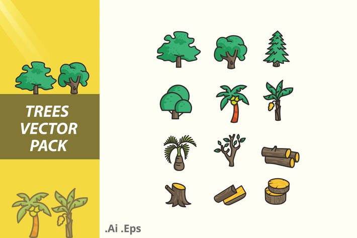 Thumbnail for Trees and Trunk Vector Pack