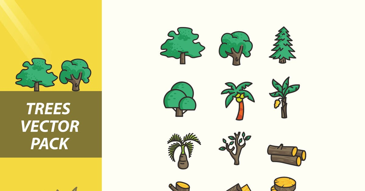 Download Trees and Trunk Vector Pack by jiwstudio