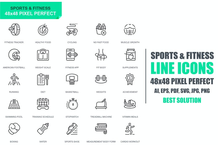 Thumbnail for Simple Set Sport and Fitness Line Icons