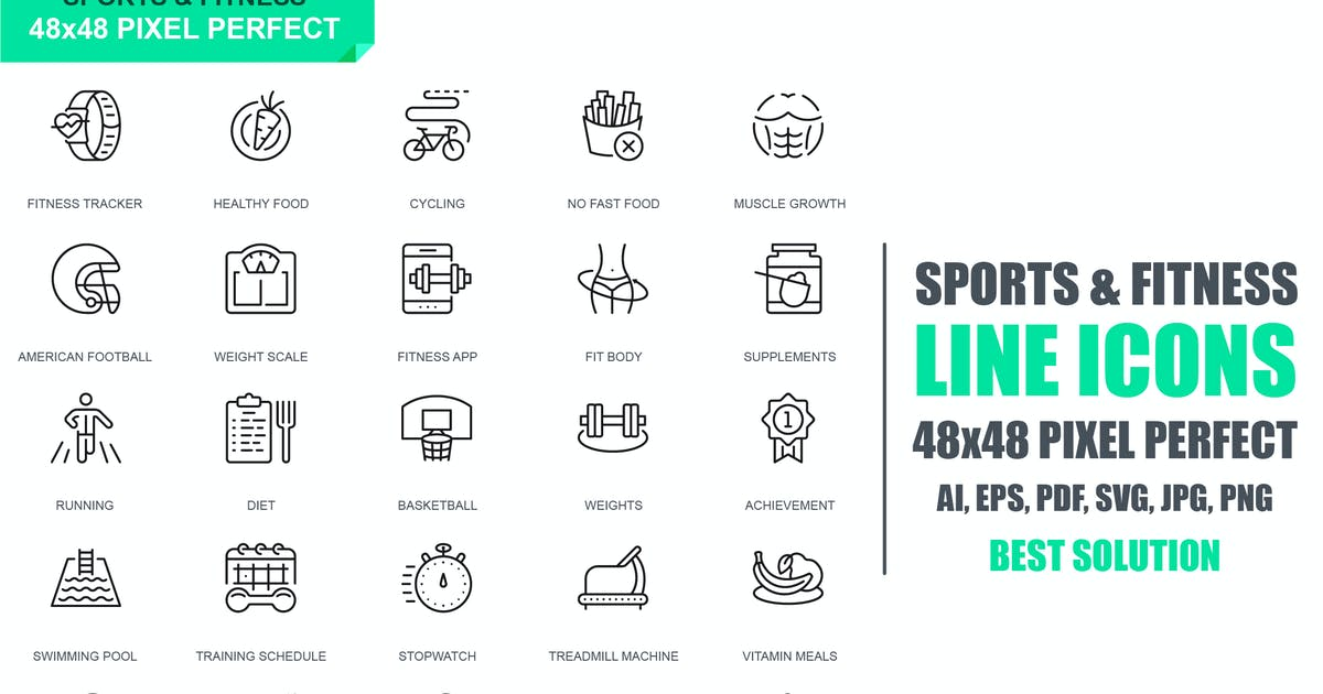 Simple Set Sport and Fitness Line Icons by alexdndz