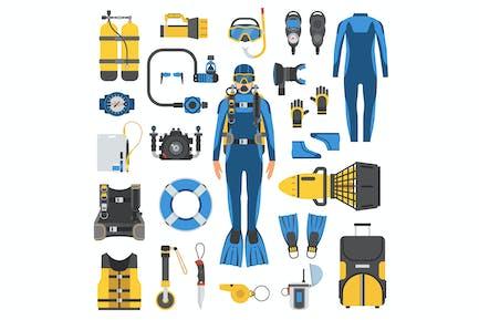Conjunto de elementos de equipo de buceo