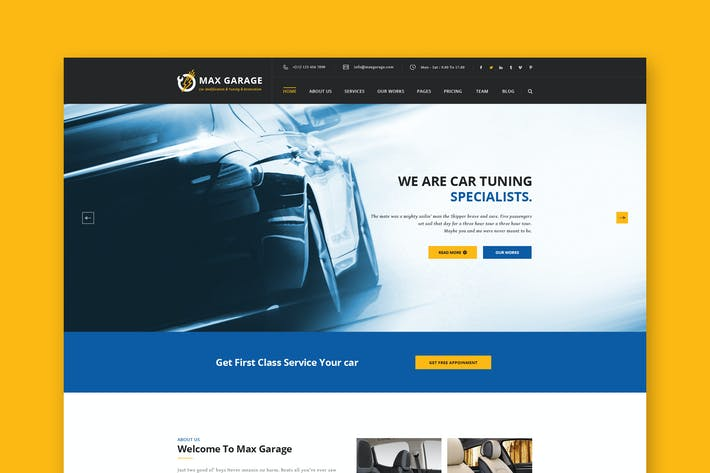 Car Restoration & Repairs PSD Template