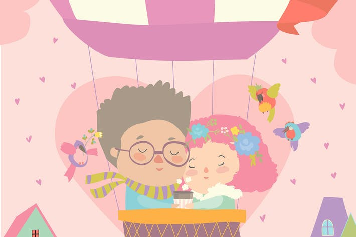 Cover Image For Cute couple in love flying on air ballon. Vector