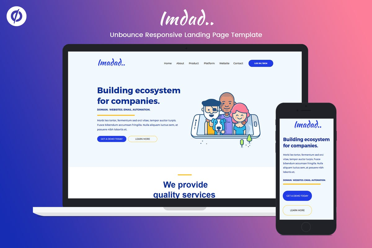 Download Unbounce Responsive Landing Page Template - Imadad by ILMThemes by Unknow