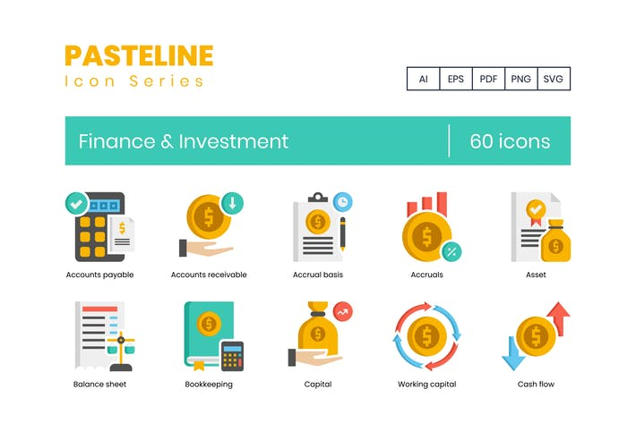 Thumbnail for 60 Finance & Investment Flat Icons