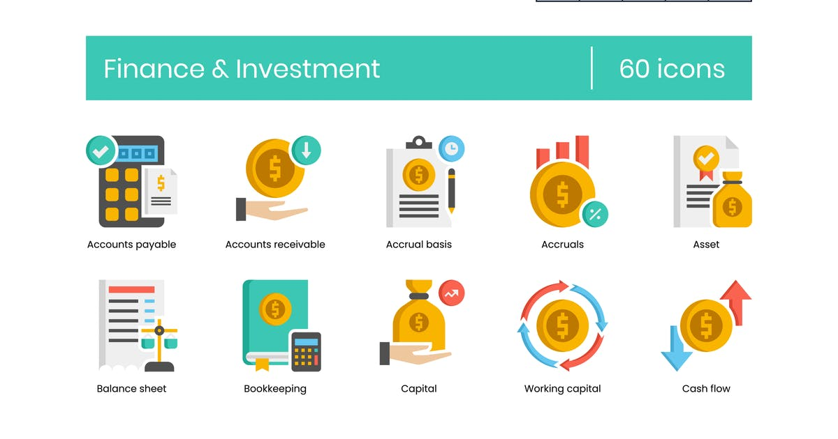 Download 60 Finance & Investment Flat Icons by Krafted