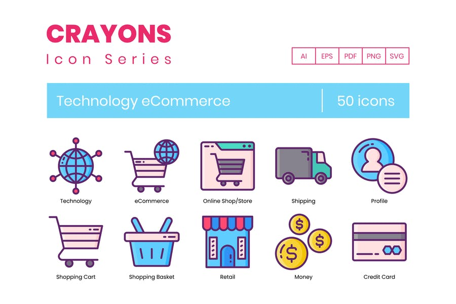 50 Technology eCommerce Icons - Crayons Series