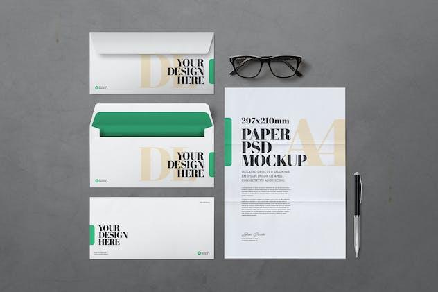 A4 Paper And DL Envelopes Mockup