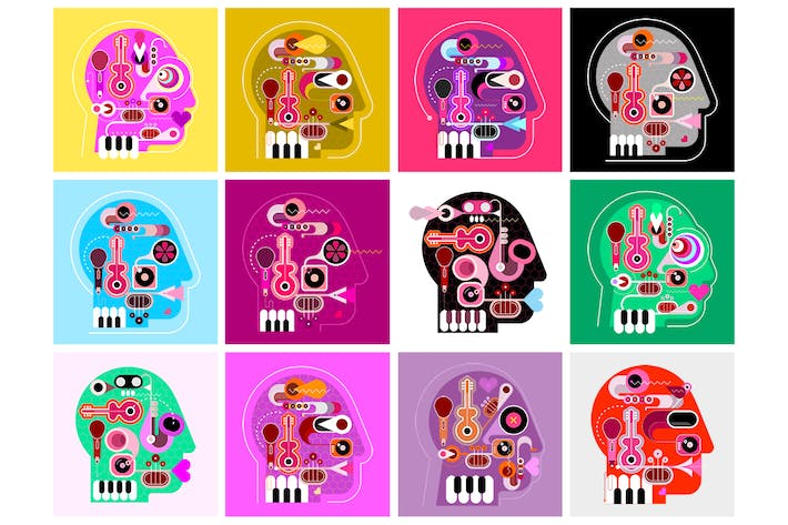 Thumbnail for 18 options of Music Head Vector Design