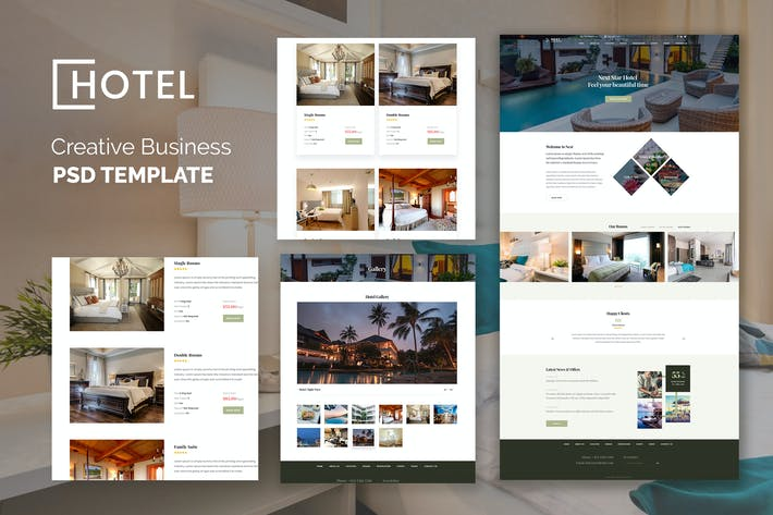 Thumbnail for Hotel Resort Booking Luxury Creative PSD Template